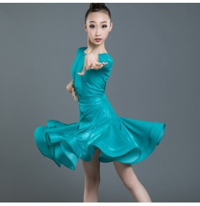 Girls competition ballroom latin dancing dresses kids children stage performance modern dance salsa rumba chacha dance skirts costumes